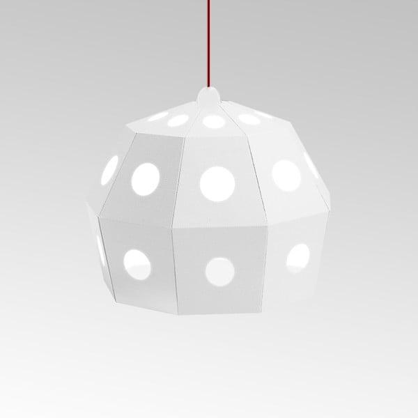 Kartonowa lampa Uno Fantasia B White, z czerwonym kablem