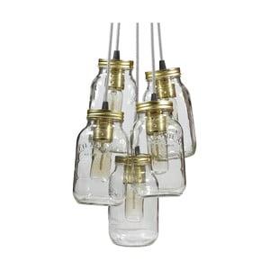 Lampa wisząca JamJar Lights, pięć czarno-białych kabli