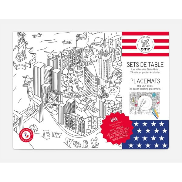 Mata stołowa - kolorowanka dla dzieci OMY City, 24 szt.