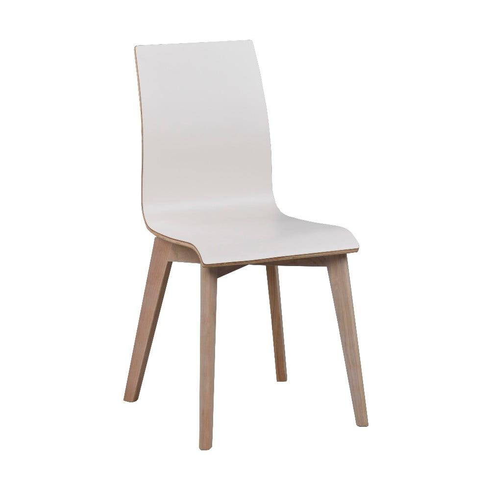 Białe krzesło do jadalni z jasnobrązowymi nogami Rowico Grace