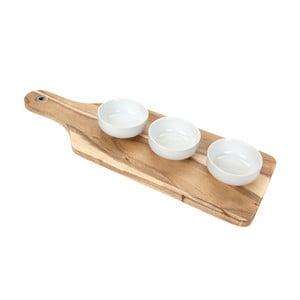 Deska do serwowania z 3 miseczkami Acacia