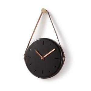 Czarny zegar ścienny La Forma Wolly