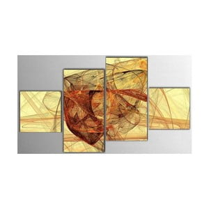 Czteroczęściowy obraz Yellow Art, 50x100 cm