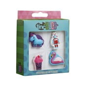 Zestaw 4 dekoracyjnych przypinek na plecak i piórnik TINC Animals