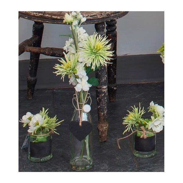 Szklany wazon ze sztucznymi kwiatami Chrysanthemum, 38 cm