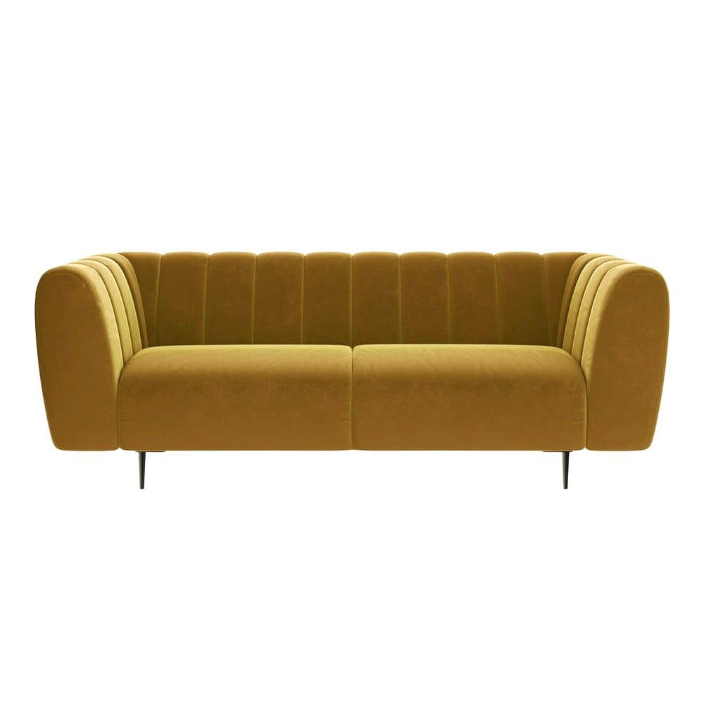 Miodowożółta aksamitna sofa Ghado Shel, 210 cm