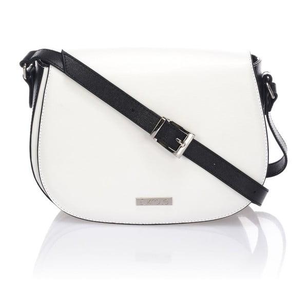 Skórzana torebka Krole Karina, biała/czarna