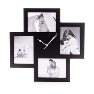 Czrny zegar z ramkami na zdjęcia Tomasucci Collage
