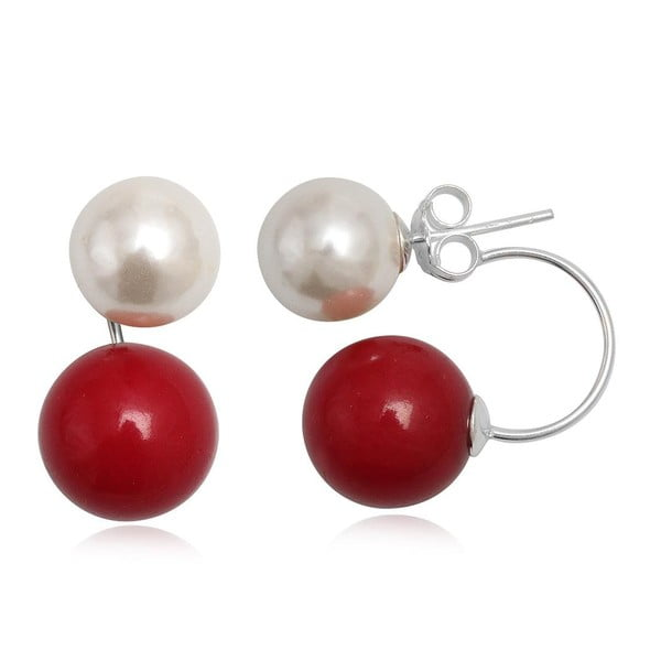 Kolczyki Two Pearls Red and White
