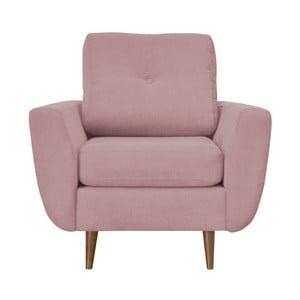 Różowy fotel z jasnymi nogami Mazzini Sofas Flower