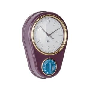 Ciemnofioletowy zegar ścienny z minutnikiem PT LIVING