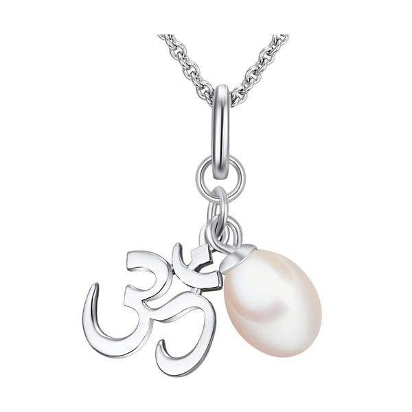 Srebrny naszyjnik z zawieszką i perłą Chakra Pearls Om, 42 cm