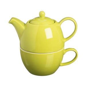 Dzbanek do herbaty z filiżanką Tea For One Bright Green, 400 ml