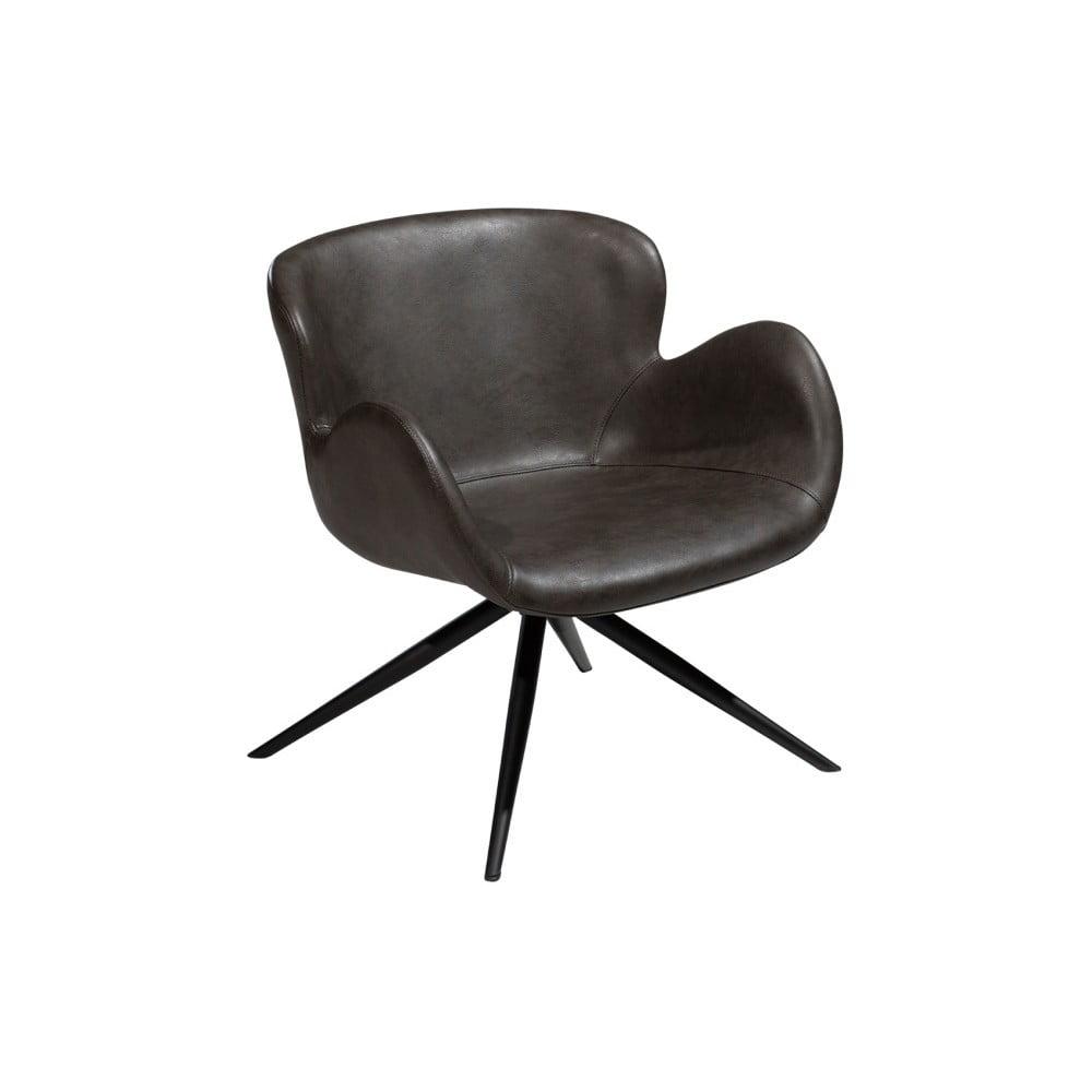 Szary fotel ze skóry ekologicznej DAN–FORM Denmark Gaia Lounge