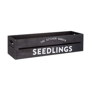 Czarna skrzynka drewniana na doniczki z kwiatami i ziołami Premier Housewares Seedligngs, 15x45 cm