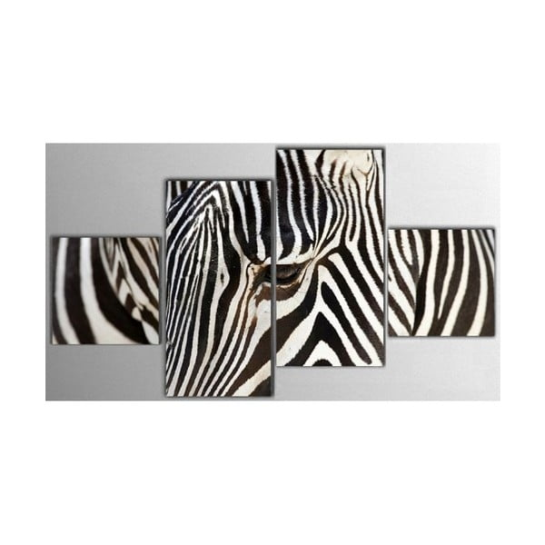 Czteroczęściowy obraz Zebra, 50x100 cm
