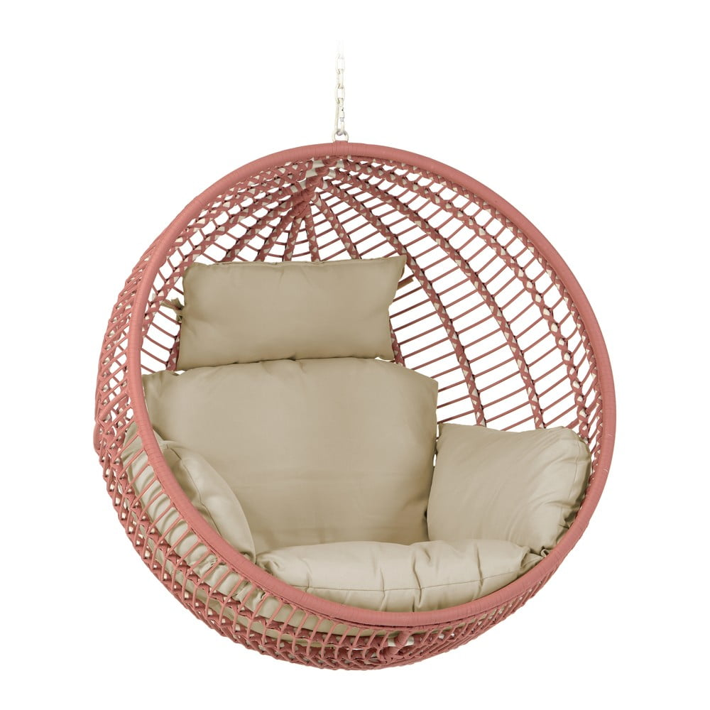 Wiszący fotel ogrodowy z plecionką w kolorze terakoty La Forma Elianis