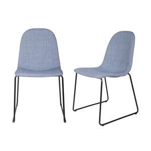 Zestaw 2 krzeseł Copper Light Blue