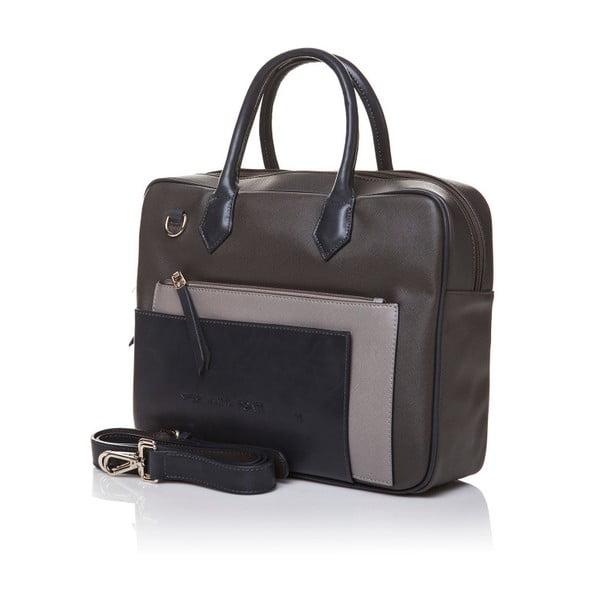 Skórzana torebka do ręki Marta Ponti Case, beżowa/szara