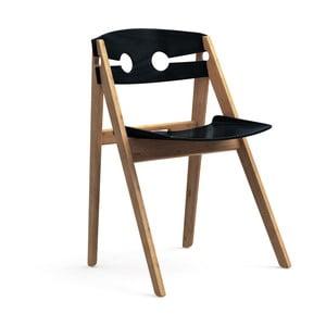 Czarne krzesło do jadalni z bambusową konstrukcją We Do Wood