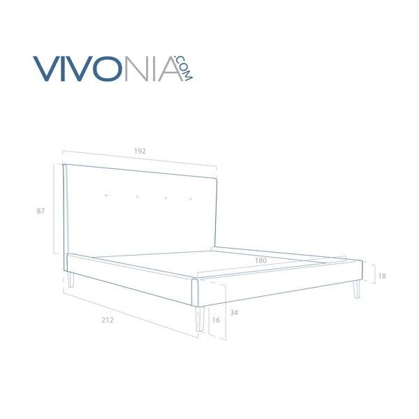 Pastelowo zielone łóżko z naturalnymi nóżkami Vivonita Kent, 180x200 cm