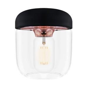 Czarna lampa wisząca z oprawką w miedzanej barwie VITA Copenhagen Acorn,  Ø14cm