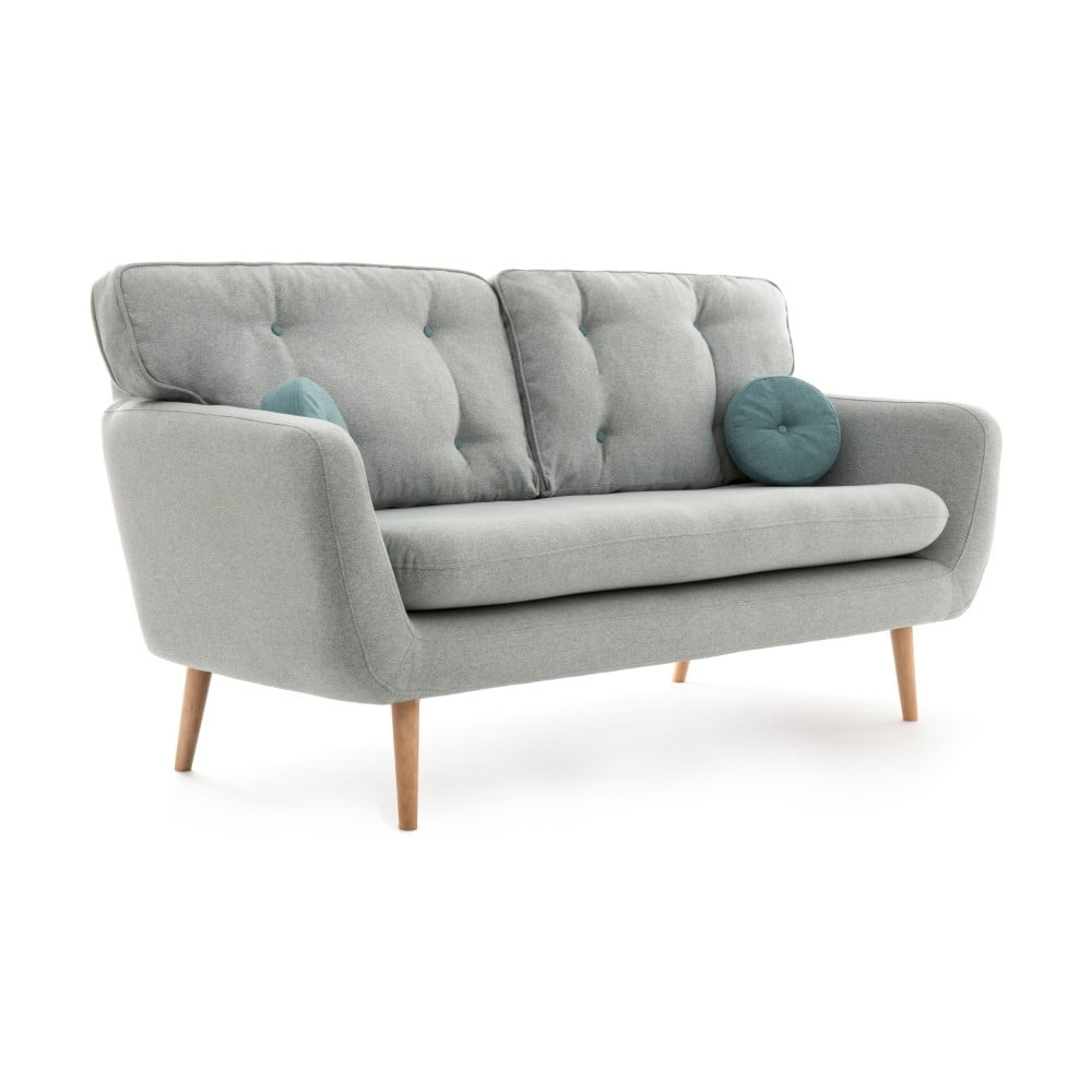 Jasnoszara sofa 3-osobowa z niebieską poduszką VIVONITA Malva