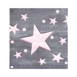 Różowo-szary dywan dziecięcy Happy Rugs Star Constellation, 140x140cm
