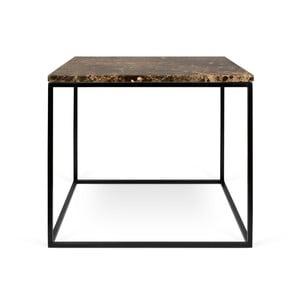 Brązowy stolik marmurowy z czarnymi nogami TemaHome Gleam, 50 cm