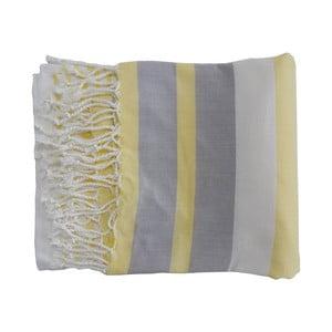 Żółto-szary ręcznie tkany ręcznik z bawełny premium Rio,100x180 cm
