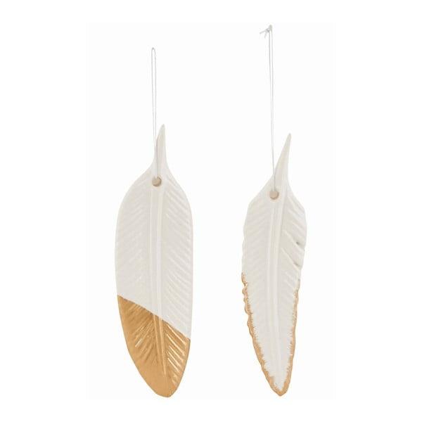 Zestaw 2 ozdobnych ceramicznych piórek Ornament Feather