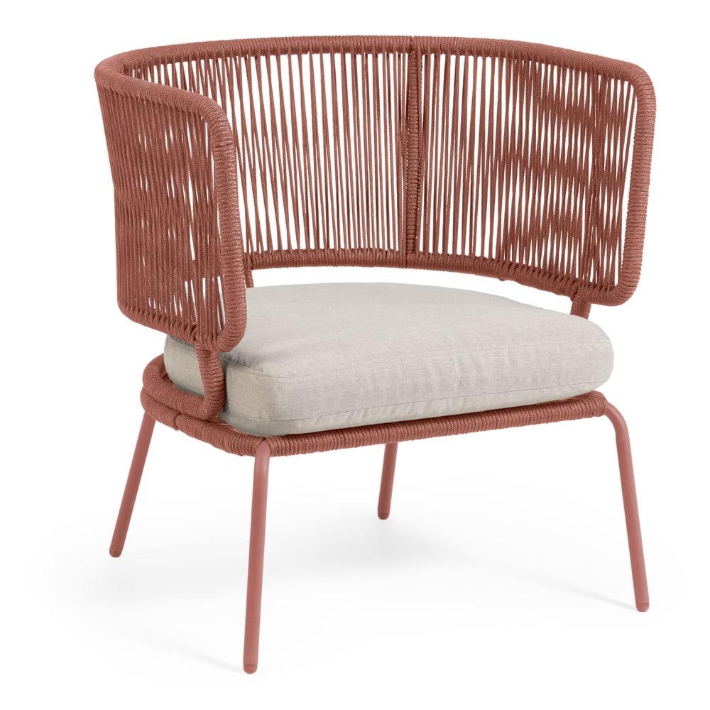 Krzesło ogrodowe w kolorze terakoty ze stalową konstrukcją La Forma Nadin