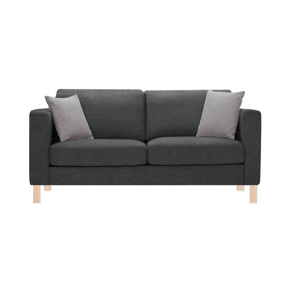 Antracytowa sofa 3-osobowa z 2 jasnoszarymi poduszkami Stella Cadente Canoa