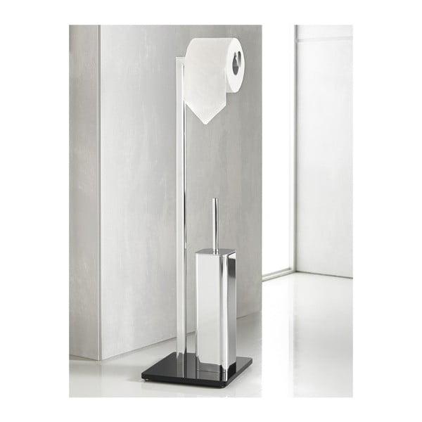 Stojak na papier toaletowy ze szczotką Empire  Silver/Black