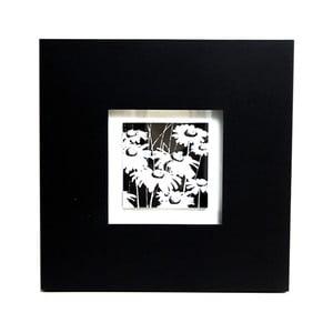 Obraz na drewnie White and Black Flower, 35x35 cm