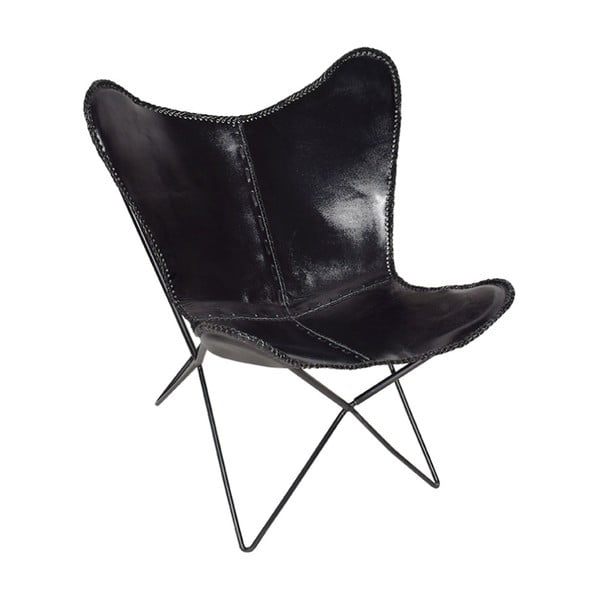 Czarny fotel skórzany RGE Butterfly