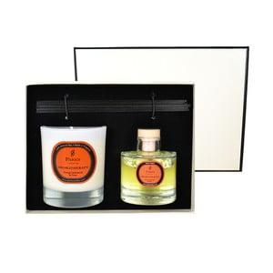 Podarunkowy zestaw świeczki i dyfuzoru Aromatherapy, zapach pomarańczy i goździków
