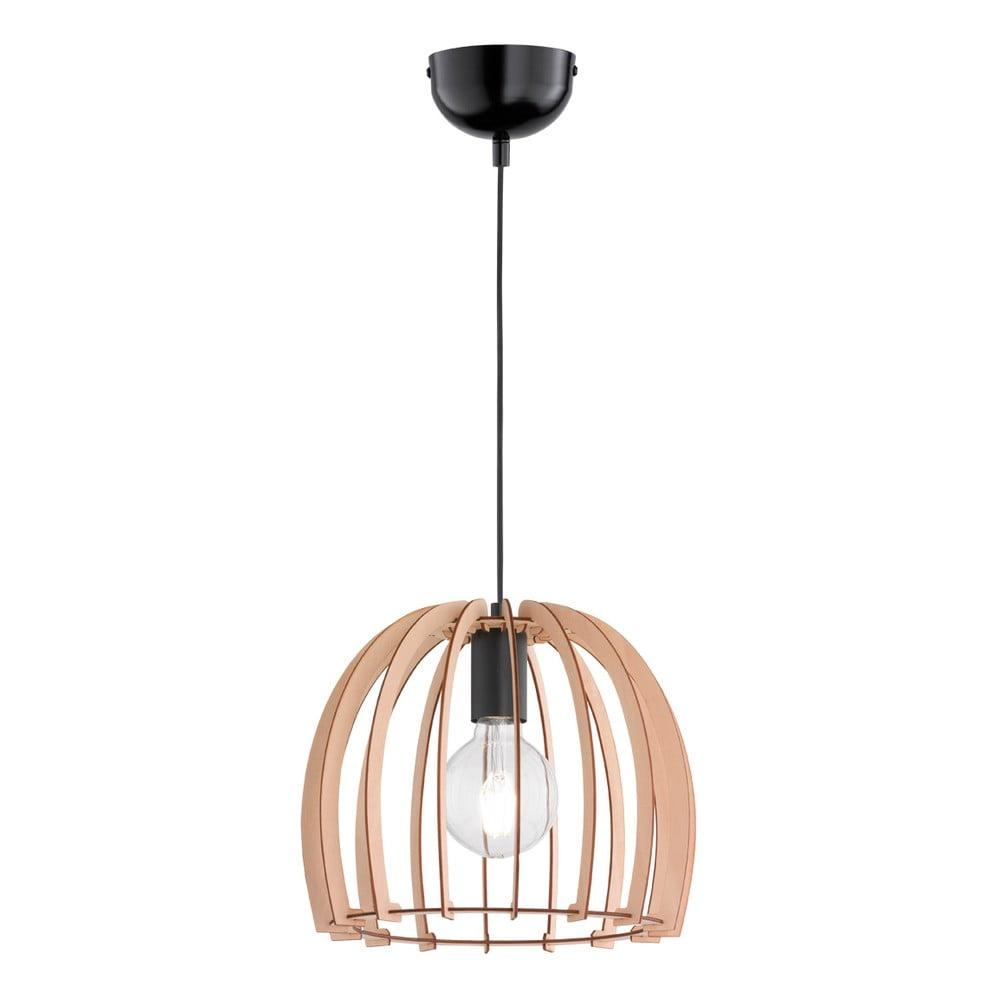 Beżowa lampa wisząca z drewna i metalu Trio Pendant Wood, wys. 150 cm