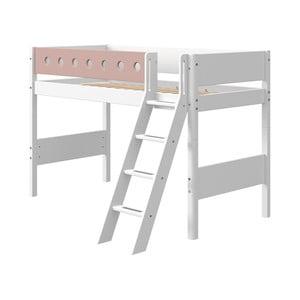 Różowo-białe dziecięce łóżko z drabinką Flexa White, wys. 143 cm