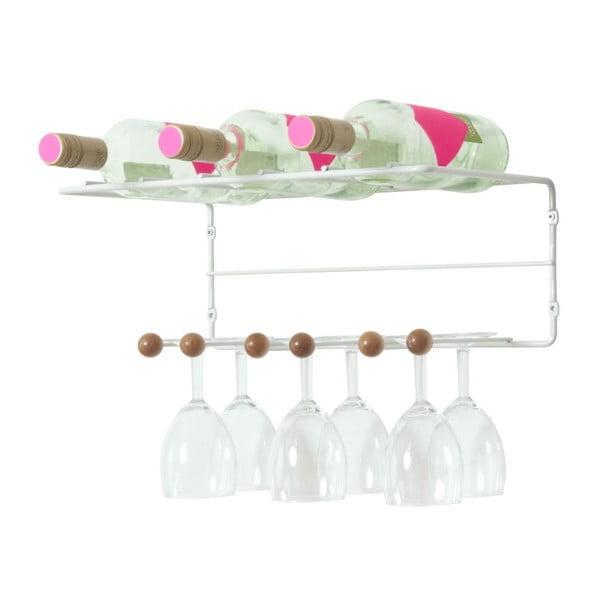 Uchwyt na kieliszki z półką na butelki PT Saturnus Wooden