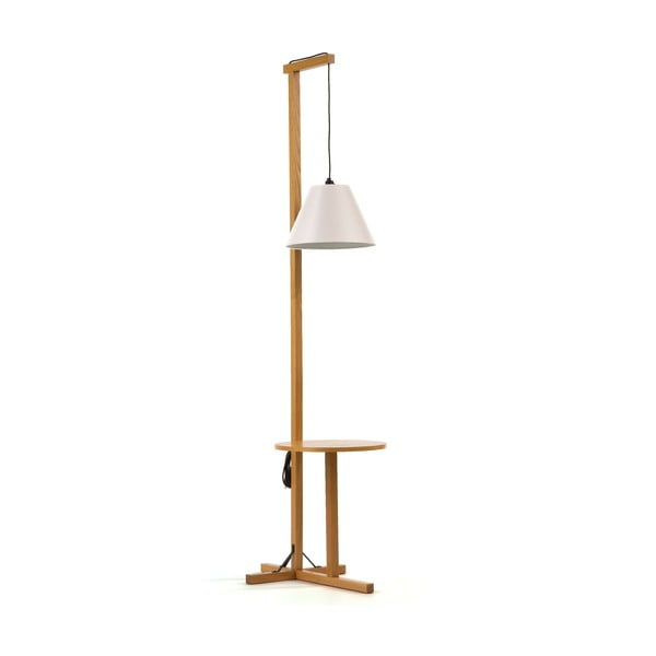 Biała lampa stojąca z drewnianą konstrukcją Woodman Floor