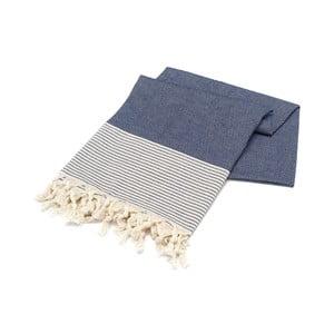 Granatowy ręcznik Hammam Bal Petergi, 100x180cm