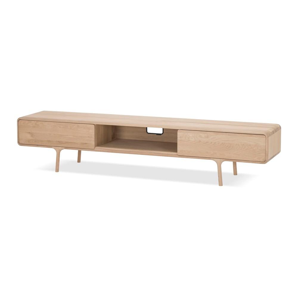 Szafka pod TV z litego drewna dębowego z 2 szufladami Gazzda Fawn