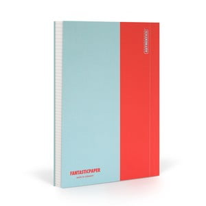 Notes FANTASTICPAPER A5 Skyblue/Warm Red, w kratkę