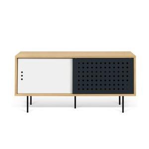 Stolik pod TV w kolorze dębu z czarno-białymi elementami TemaHome Dann Dots, dł. 135cm