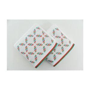Zestaw 2 ręczników Rainbow White, 50x90 cm