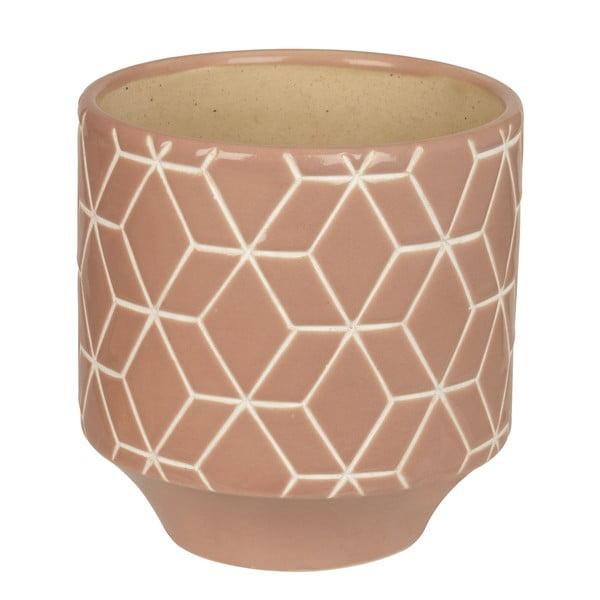 Doniczka ceramiczna Present Time Hexagon Carved Pink, średnia