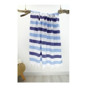 Biało-niebieski ręcznik hammam Rainbow Style Navy, 100x180 cm