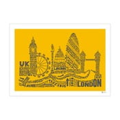 Plakat London Yellow&Grey, 50x70 cm