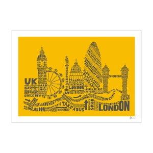 Plakat London Yellow&Grey, 50x70 cm